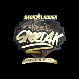 Наклейка | speed4k (золотая) | Берлин 2019
